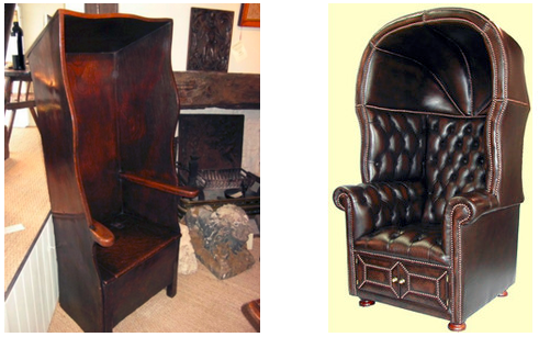 Hooded chairs from the nineteenth century. Sources: Period Oak Antiques (left) and Polyvore (right).