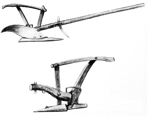 A regular plow (top) and an ard plow (bottom)