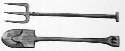 An old pitchfork and spade, as they made them in the 1800's